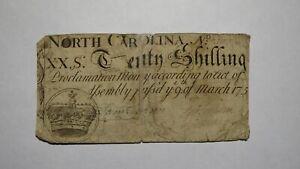 1754 Twenty Shillings North Carolina NC Colonial Currency Note Bill! RARE 20s