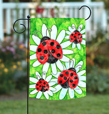 New Toland - Ladybugs and Daisies - Colorful Ladybug Flower Spring Garden Flag