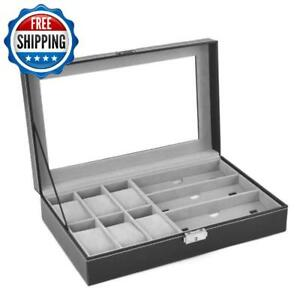 Leather 6 Watch Box Jewelry Case And 3 Piece Eyeglasses Storage And Sunglass Gla