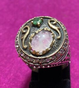 One Of A Kind Turkish 925 Sterling Silver Ring With Precious Stone Size 8/9