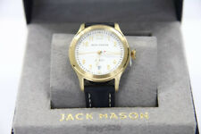 Jack Mason Women Watch New Leather classic style gift Aviation Navy Gold 36mm