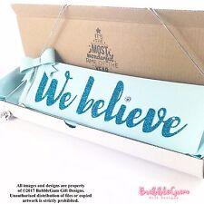 Christmas Sign We Believe Blue Silver glitter bow handmade jingle bell Frozen