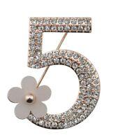 Brosche Pin Anstecker No 5 Fünf Blume Gold Kamelie Camelia Luxus Designer