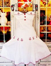 Betsey Johnson VINTAGE Dress EMBROIDERED Red ANCHOR White SAILOR Fit & Flare 2 S