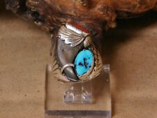 Southwest Sterling Silver Turquoise and Coral Men's Ring Size