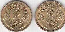 Lot de 2 monnaies Française 2 francs Morlon 1939-1941
