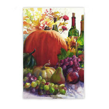 """12.5""""x18"""" PUMPKIN & WINE GRAPES PEARS Autumn Fall DOUBLE SIDED Small Banner Flag"""