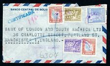 Bolivia - 1940s Registered Commercial Airmail Cover to Manchester, England