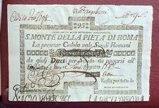 Etats Pontificaux - Rome -Très Rare billet de 95 Scudi 1796/7 - S.Monte d. Pieta