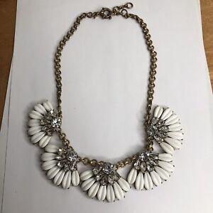 "J Crew Gold Tone White Clear Rhinestone Statement Necklace Art Deco 18"" Vintage"