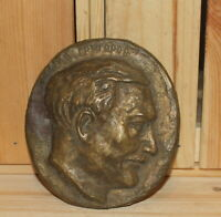 Vintage hand made brass wall hanging sculpture man portrait signed