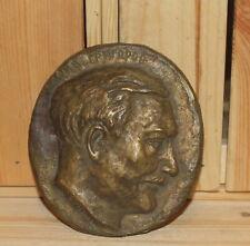 Vintage hand made brass wall hanging sculpture man portrait signed