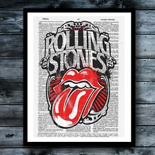 Rolling Stones Vintage Dictionary Art Print Rock Music Wall Decor Modern Poster