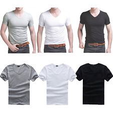 New Mens T Shirt Cotton Slim Fit Muscle Top Short Sleeve Plain Deep V Neck
