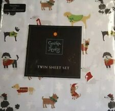 Cynthia Rowley Winter Dressed Dogs Twin EXTRA DEEP POCKETS Sheet SET NWT