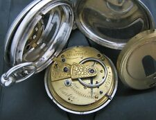 Sterling silver pocket watch circ 1870 diamond end stones  working Refurbished