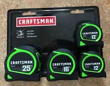 Craftsman 4 Pack Hi Visibility Locking Measuring Tape Set 25', 16', (2)12' New