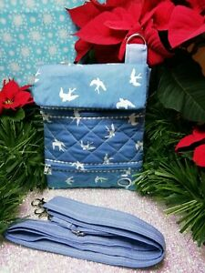 Dog walking  treat and  poo bag holder handmade blue swallows 100% cotton