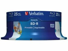 25 Genuine Verbatim Bluray BD-R 25GB BD R Discs 6x Write Printable Surface 43811