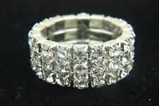 Diamante Crystal Ring Stretch Adjustable 3 Row Silver Rhinestone Gift Lady