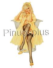 Vintage Sexy Yellow Nightie Pinup Girl Waterslide Decal Sticker S393