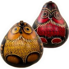 2 x GOURD SHAKER OWLS Wicca Witch Pagan Goth Spell Goddess Herb