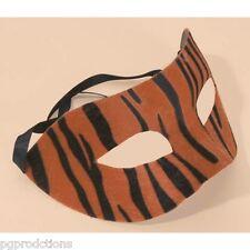Tiger Half Mask Animal Stripes Print Masquerade Zoo Adult Halloween Costume Cat