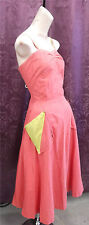 Late 40s-50s cotton Sundress Salmon & Chartruese (bright yellow green) sz small
