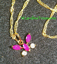 DELIGHTFUL 9K YELLOW GOLD FILLED NECKLACE BUTTERFLY RUBY CUBIC ZIRCONIA PENDANT