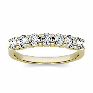 Yellow Gold 3.0mm Moissanite by Charles & Colvard Seven Stone Band, 0.70cttw DEW