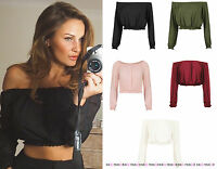 WOMENS CELEBRITY INSPIRED CROP TOP LADIES OFF THE SHOULDER GYPSY BARDOT SHIRT