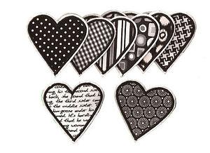Herz zum Aufbügeln 1 Aufnäher #13 SW# Neu Applikation schwarz weiß Flicken
