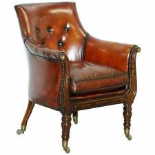 RARE ATTRIBUTED TO GILLOWS REGENCY ARMCHAIR HAND DYED BROWN LEATHER ROSEWOOD