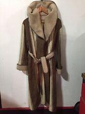 VTG Casa de Lana Wool Womens Tans/Browns Striped Hooded Wrap Coat SZ 7/8 M-L