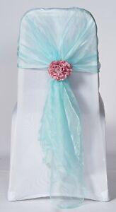 100 Tiffany Blue Organza Chair Cover Hood Wrap Sash Bow Tie