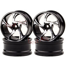 4×Wheels Rims 1058 Black Aluminum On-Road Drift 5 Spoke 1:10 Sakura HSP Tamiya