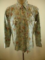 Mens sz S Vtg 1970's Fenton Western Pearl Snap Shirt Blue Floral Long Sleeve USA
