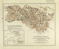 Antique Map of Karakoram Himalaya mountain range 1903 Bullock Workman Expedition