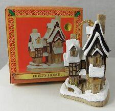 "David Winter Cottage Christmas Ornament Fred's Home 2-3/8"" John Hine Studios NIB"
