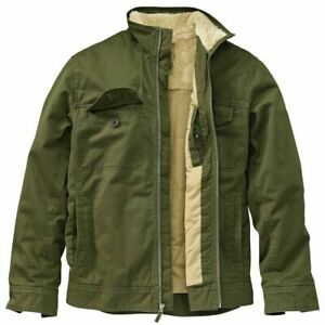 TIMBERLAND BRITISH OLIVE GREEN RUGGED FLEECE LINED BOMBER JACKET SZ XL 6140j