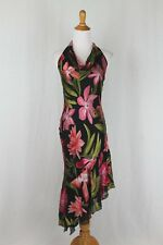 Vintage Cache 1930's Style Long Beaded Bias Cut Floral Silk Halter Dress Gown 4