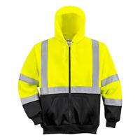 Hi Vis Hoodie Sweatshirt Zipped Class 3, High Visibility Safety Reflective UB315