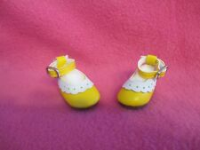 "1-3/4"" YELLOW WHITE MARY JANE DOLL SHOES FOR BERENGUER 9.5"" OR 10"" KAYDORA DOLLS"