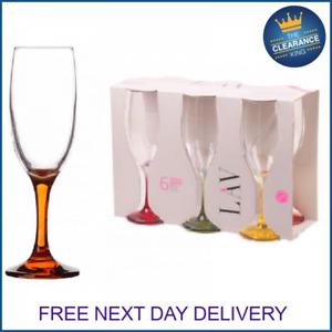 Champagne Flutes Glasses Cava Prosecco Glass 190cc (6.1/2oz) x6 Coloured Stems