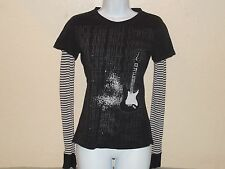 Rock and Roll Cowgirl Guitar T-Shirt long sleeve with Rhinestones Juniors Small