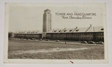 VTG POSTCARD ~ FORT SHERIDAN ILLINOIS TOWER AND HEADQUARTERS MILITARY BASE RPPC