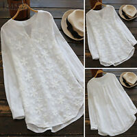 Womens Long Sleeve Lace V-Neck Casual Shirt Pullover Tunic Tops Blouse Plus Size
