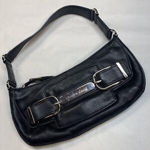Charles David Black Leather Small Shoulder Handbag Baguette Poucette Silver