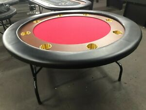 "58"" ROUND PROFESSIONAL POKER TABLE W/ JUMBO STEEL CUP +  COVER  [RED]"