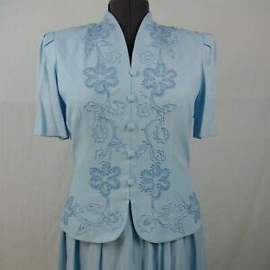Karin Stevens Vintage Light Blue Floral Short Sleeve Dress Size Womens 8